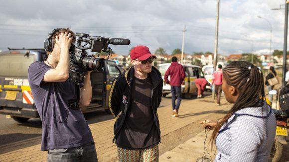 A woman is interviewed on video in Nairobi, Kenya.