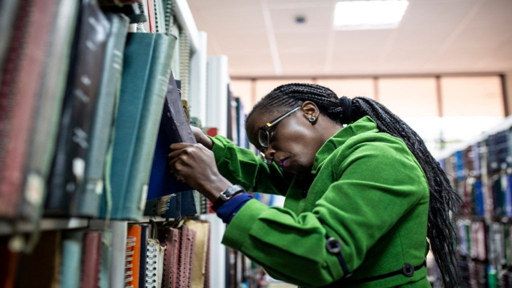 Sylvia at work in the library.