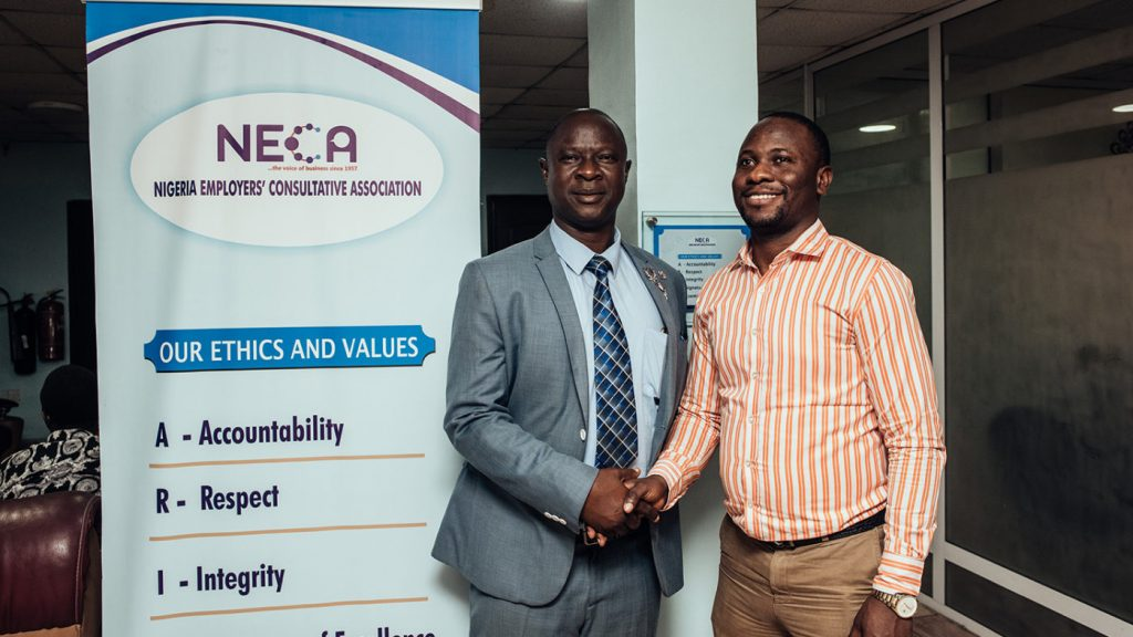Timothy Olawale, 54, Director general of Nigeria Employer consultative association (NECA) and Rasak Adekoya, programs officer at sightsavers.