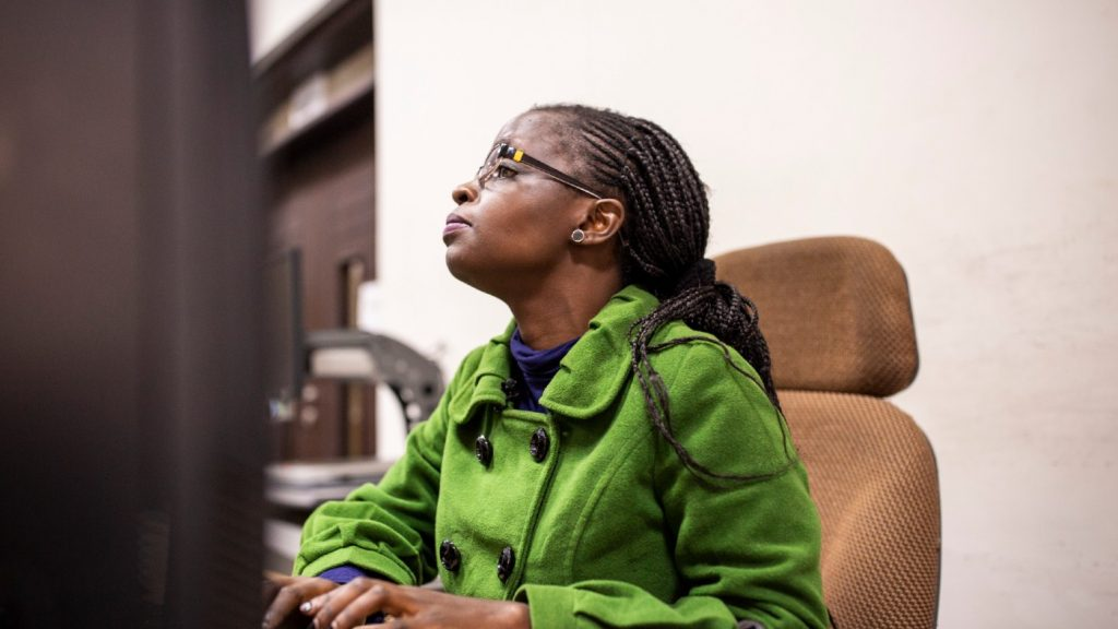 Sylvia Amagove, Visually impaired and member of NAVI at Kenya National Library in Nairobi.