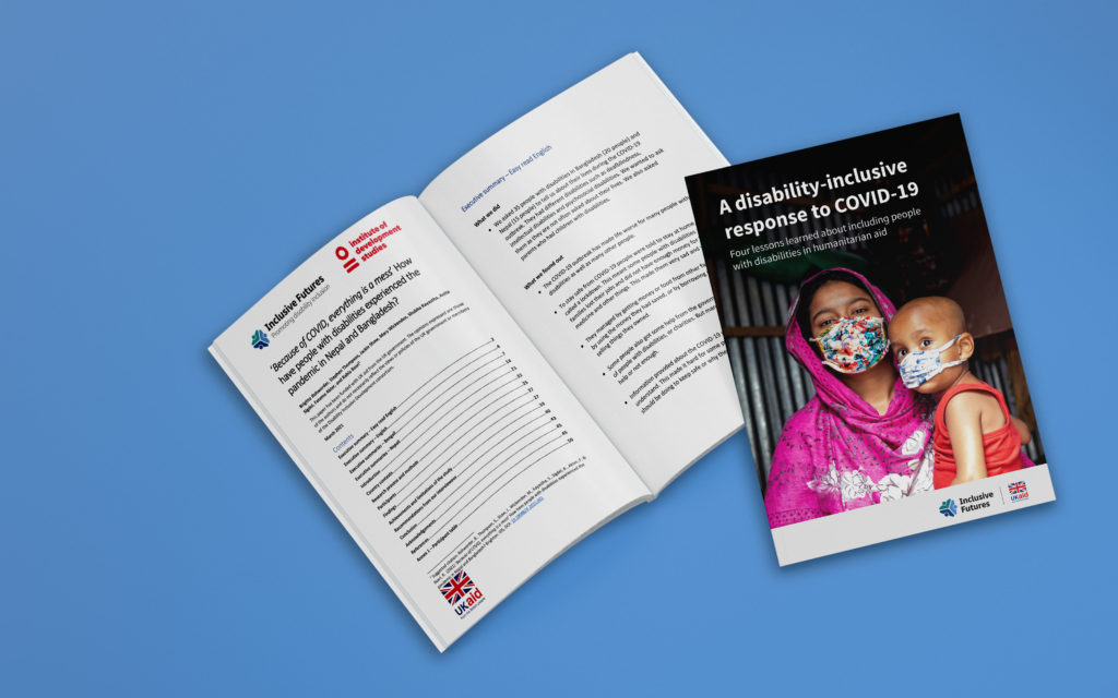 Two reports - one called A disability inclusive approach to COVID-19. The other is called How have people with disabilities experienced the pandemic in Bangladesh? And sits open to the first page.