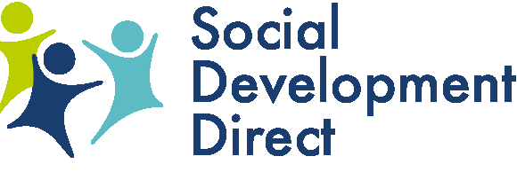 The words Social Development Direct sit next to the cartoon figures of three people - one teal, one navy blue and one lime green